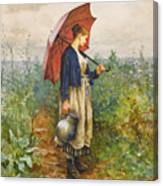 Portrait Of A Woman With Umbrella Gathering Water Canvas Print