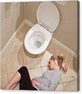 Pregnant Woman Lying On Bathroom Floor Canvas Print