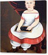 Prior Hamblin School's Little Girl With Slate Canvas Print