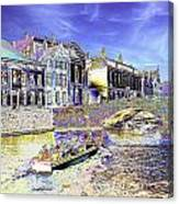 Psychedelic Bruges Canal Scene Canvas Print