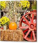 Pumpkins Next To An Old Farm Tractor Canvas Print