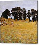 Reapers Resting In A Wheat Field Canvas Print