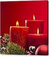 Red Advent Wreath With Candles Canvas Print