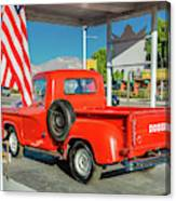 Red Dodge Pickup Truck Parked In Front Canvas Print