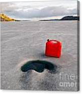 Red Jerrycan Lost On Frozen Lake Laberge Yukon T Canvas Print