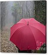 Red Umbrella In The Forest Canvas Print