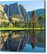 Reflections Of Yosemite Falls Canvas Print