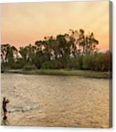Reid Sabin Fly Fishing At Sunrise Canvas Print