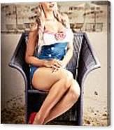 Retro Blond Beach Pinup Model With Elegant Look Canvas Print