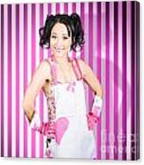 Retro Cleaning Service Maid With Smile Canvas Print