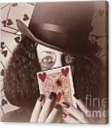 Retro Magician Holding Burnt Playing Card Canvas Print