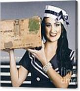 Retro Maritime Portrait. Woman In Sailor Fashion Canvas Print