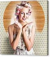 Retro Woman At Beauty Salon Getting New Hair Style Canvas Print