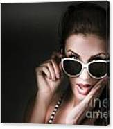 Retro Woman In Early Twenties Expressing Shock Canvas Print
