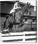 Rider Jumps At Horse Show Canvas Print