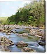 River Flowing Through Rocks, Black Canvas Print