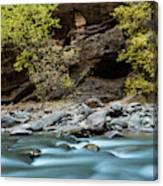 River Flowing Through Rocks, Zion Canvas Print