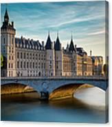 River Seine And Conciergerie Canvas Print