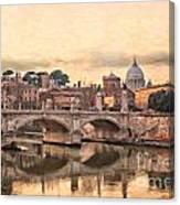 River Tiber In Rome Canvas Print