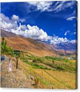 Road And Mountains Of Leh Ladakh Jammu And Kashmir India Canvas Print