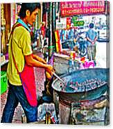 Roasting Chestnuts In China Town In Bangkok-thailand  Canvas Print