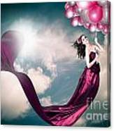 Romantic Girl In Love With Beauty And Fashion Canvas Print