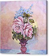 Roses In Ruby Vase Canvas Print