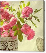 Roses In Watering Can Canvas Print