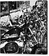 Row Of Harley Davidson Motorbikes Including Sportster Outside Motorcycle Dealership Orlando Florida  Canvas Print