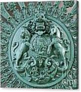 Royal Lion And Unicorn Coat Of Arms On The Gate Of The Wellington Arch At Hyde Park Corner London Canvas Print