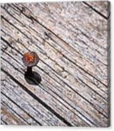 Rusty Nail In An Old Wooden Board Canvas Print