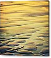 Rythm On Sand With Wave On Sea Coast At Sunset Color Canvas Print