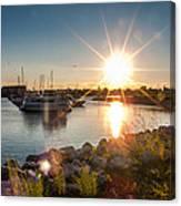 Sailboat Pier In Lake Michigan Nature Scenary Near Racine Wisconsin Canvas Print
