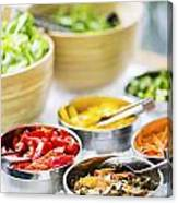 Salad Bowls With Mixed Fresh Vegetables Canvas Print