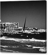 Salou Waterfront Properties And The Els Pilons Sculpture On The Costa Dorada Catalonia Spain Canvas Print