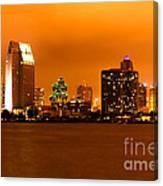 San Diego Skyline At Night Canvas Print