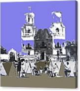 San Xavier Mission Sketched By Art Students C. 1930 Tucson Arizona Canvas Print
