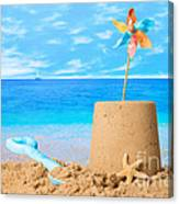Sandcastle On Beach Canvas Print