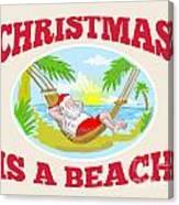 Santa Claus Father Christmas Beach Relaxing Canvas Print