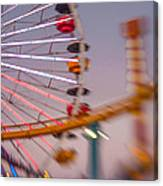 Santa Monica Pier Ferris Wheel And Roller Coaster At Dusk Canvas Print