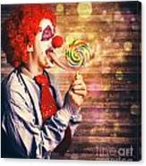 Scary Circus Clown At Horror Birthday Party Canvas Print