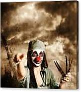Scary Clown Doctor Throwing Knives Outdoors Canvas Print