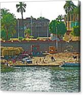 Scene Along Nile River Between Luxor And Qena-egypt  Canvas Print