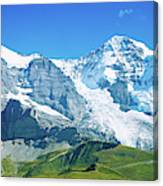 Scenic View Of Eiger And Monch Mountain Canvas Print