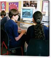 Schoolchildren Working Canvas Print