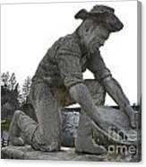 Scuplture Of Gold Rush Miner Claude Chana Canvas Print
