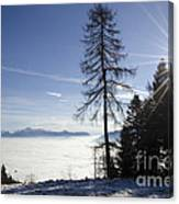 Sea Of Fog Over An Alpine Lake Canvas Print