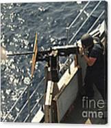 Seaman Fires A .50-caliber Machine Gun Canvas Print