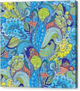 Seamless Abstract Hand-drawn Floral Canvas Print