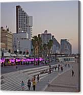 Seaside Promenade Of Tel Aviv At Dusk Canvas Print